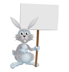 white easter bunny sign vector image