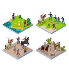 Wild west 2x2 indians cowboys army vector