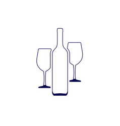 wine bottle and two wine glasses vector image