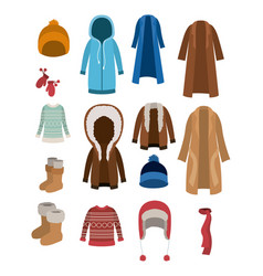 Winter clothes set with coats sweaters wool cap vector