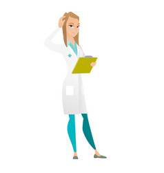 young caucasian doctor scratching her head vector image