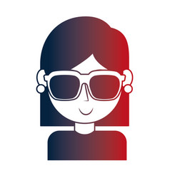 young girl with sunglasses portrait character vector image