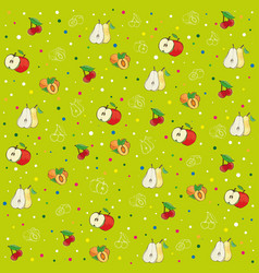 background pattern apples pears peaches and plum vector image
