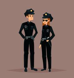 cartoon woman and man at police job or work vector image