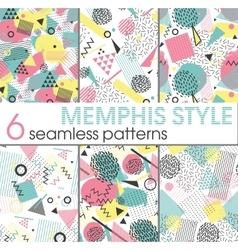 Set of six seamless patterns in memphis style vector image