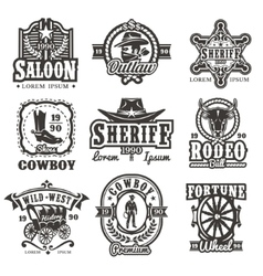 Set of wild west logos vector image