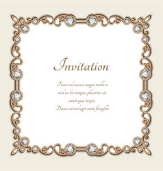 vintage gold background square jewelry frame vector image