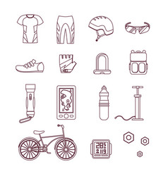 bicycle and accessories thin line set sportive vector image vector image