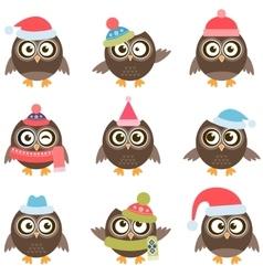 Cute owls with Santa hats vector image vector image