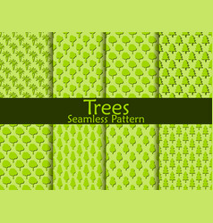 flat trees seamless pattern set vector image vector image