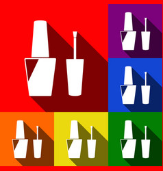 nail polish sign set of icons with flat vector image