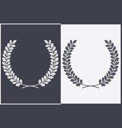 oak wreath silhouette leaves and branches round vector image vector image
