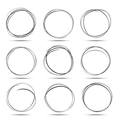 set of 9 hand drawn scribble circles vector image