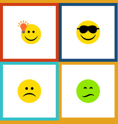 Flat icon face set of frown have an good opinion vector