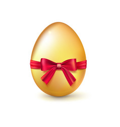golden easter egg with red ribbon and bow vector image vector image