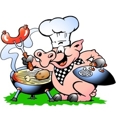 Hand-drawn of an Chef Pig standing and making BBQ vector image vector image