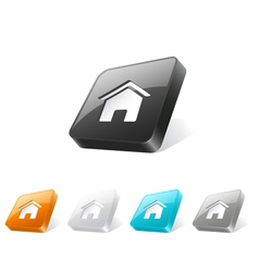 3d web button with home icon vector image vector image