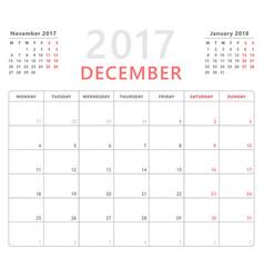 calendar planner 2017 december week starts monday vector image vector image