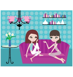 girls talk on sofa vector image vector image