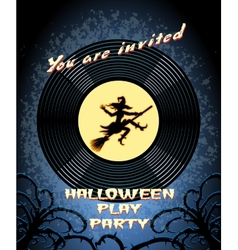 Halloween Play Party Invitation with Witch Graphic vector image