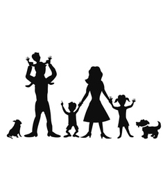 happy family silhouettes vector image vector image