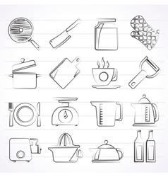 Home kitchen equipment icons vector