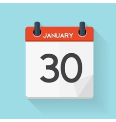 January 30 Calendar Flat Daily Icon vector image vector image