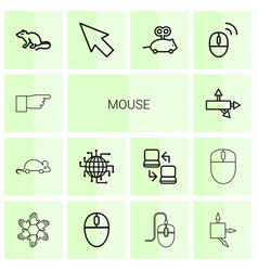 14 mouse icons vector