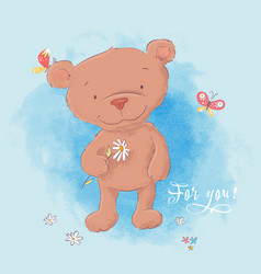 a cute bear with a camomile hand vector image