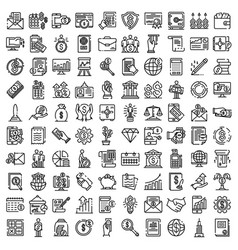 Accountant icons set outline style vector