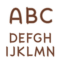 alphabet from braids letters from a to n vector image
