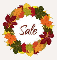 Autumn sale label with yellow leaves vector