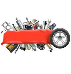 Banner with Car Spares vector