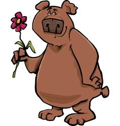 bear with flower cartoon vector image vector image