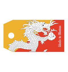Bhutan flag on price tag vector