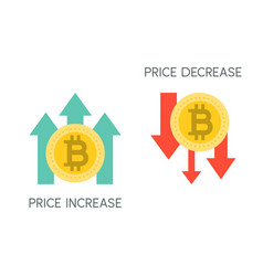 Bitcoin price increase and decrease flat icon vector