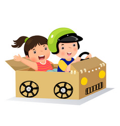 Boy and girl driving with cardboard car vector