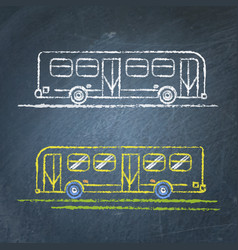 Bus sketch on chalkboard vector
