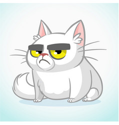 Cartoon of grumpy white cat vector
