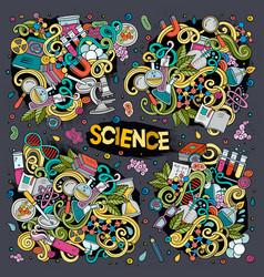Cartoon set of science doodles designs vector