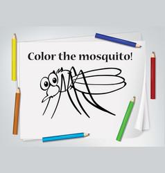 Children mosquito coloring worksheet vector