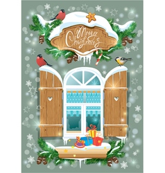 Christmas and New Year card with wooden frosty win vector image