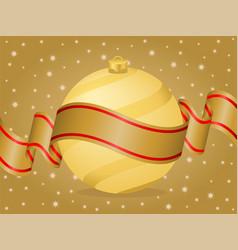 christmas ball and ribbon gold vector image