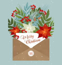 christmas letter with flower and plants vector image