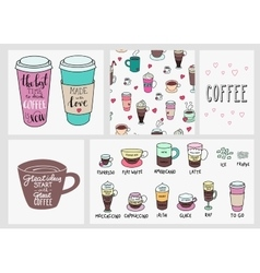 Coffee quote lettering set background vector image