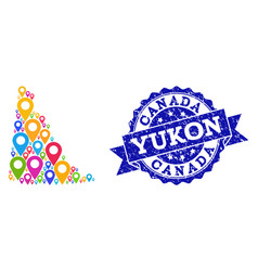 Collage map of yukon province with map pins and vector