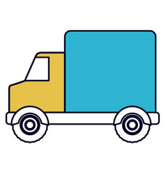 Color sections silhouette of truck with wagon vector