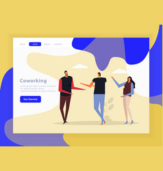 Coworking creative team landing page vector