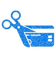Cut credit card grunge icon vector