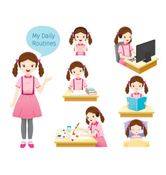 Daily routines of girl vector